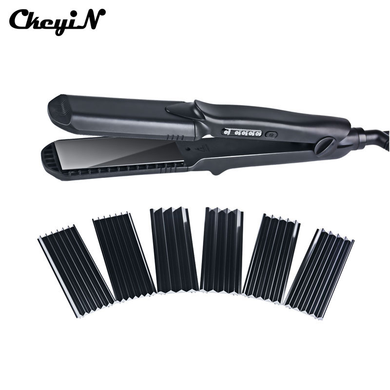 цены  Interchangeable 4 in 1 Fast Hair Straightener Corn Wave Plate Electric Hair Crimper Large To Small Waver Corrugated Flat Iron