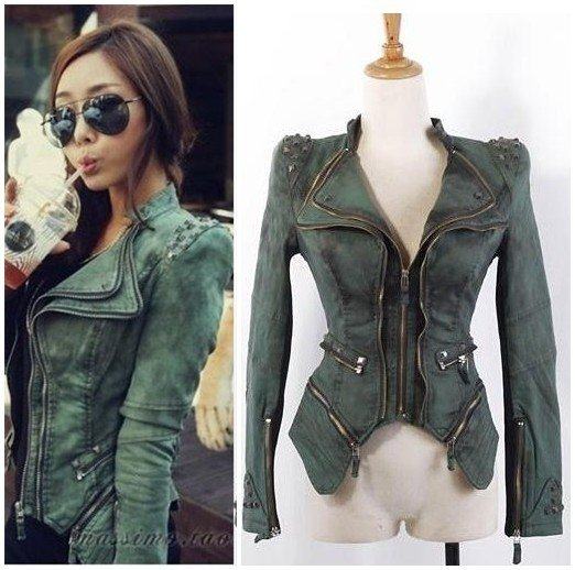 New fashion Star jeans  women Punk spike studded shrug shoulder Denim cropped VINTAGE jacket coat S M L XL XXL