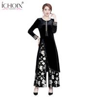 Fashion Ladies Suits High Quality Elegant 2 Pieces Sets 2018 Women Velvet Floral Dress Print Dresses