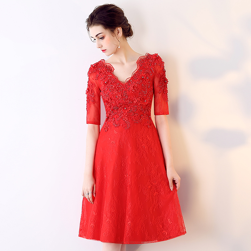 Fashion Red Short Homecoming Dresses 2018 Sexy Lady Formal Homecoming Dress V-Neck Lace Beading Custom Made Casual Casual Gowns