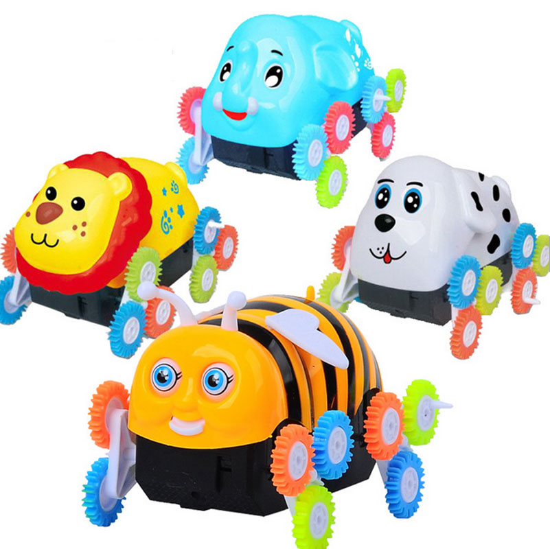 Funny Electronic Bee Ladybug Stunt Car Toys 360 Degree Rotation Tumbling   Gift For Children Baby Crawl Beetle