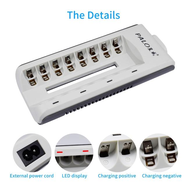 PALO 8 ranuras nimh nicd cargador inteligente de la batería de carga rápida con pantalla LED para 1,2 V aa aaa batería recargable cargador rápido