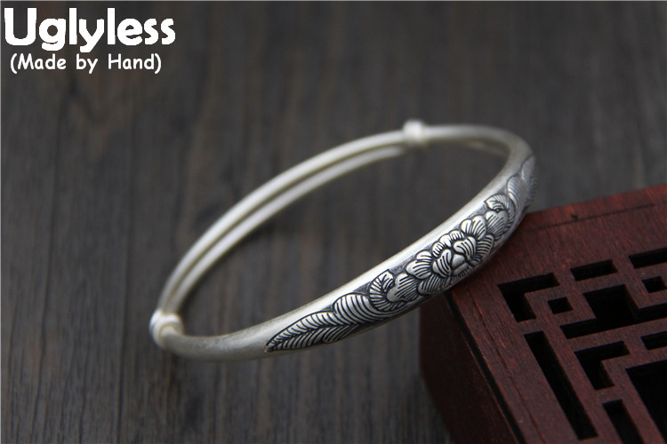 Uglyless Real S999 Silver Fine Jewelry for Women Handmade Engrave Ethnic Peony Flower Adjustable Bangle Wide China Style BanglesUglyless Real S999 Silver Fine Jewelry for Women Handmade Engrave Ethnic Peony Flower Adjustable Bangle Wide China Style Bangles