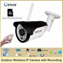 HOSAFE 720P Wireless Bullet IP Camera Outdoor ONVIF 8G Micro SD Card Waterproof/Wheatherproof Night Vision