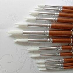 12 шт./лот круглая форма нейлоновые волосы деревянная ручка набор кистей для рисования инструмент для художественной школы акварельные акри...