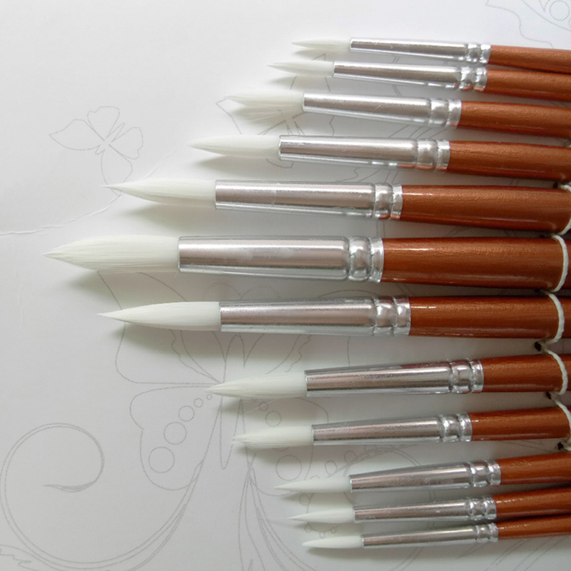 12Pcs/lot Round Shape Nylon Hair Wooden Handle Paint Brush Set Tool For Art School Watercolor Acrylic Painting Supplies(China)