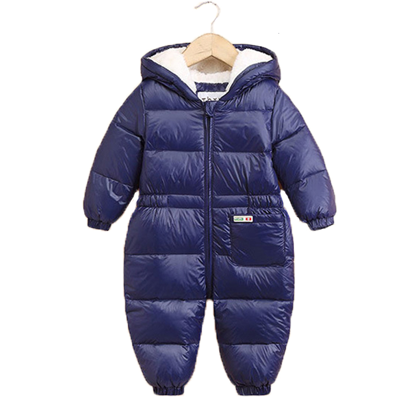 2017 New Baby Snowsuits Hooded Jumpsuit Down Jackets For Boys Girl Winter Coats Kids Clothes Infantil Thicken Rompers Outerwear russia winter baby rompers new born baby pakas thick down baby ropa warm outerwear for baby girls boys cute clothes little kids