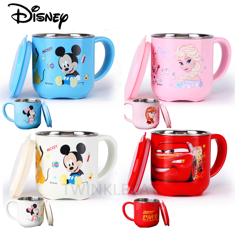 280ML Baby Feeding Bottles Kids Children Milk Cup Cartoon Creative Drink Water Drinkware Juice Cup Mickey Stainless Steel Mugs