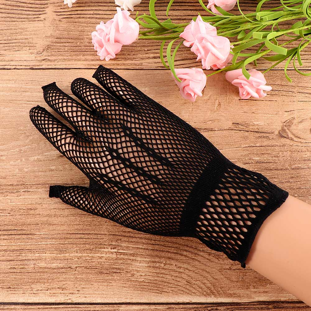 Women Summer UV-Proof Driving Dance Costume Lace Gloves Mesh Fishnet Gloves Cute Patchwork Mittens Guantes High Quality