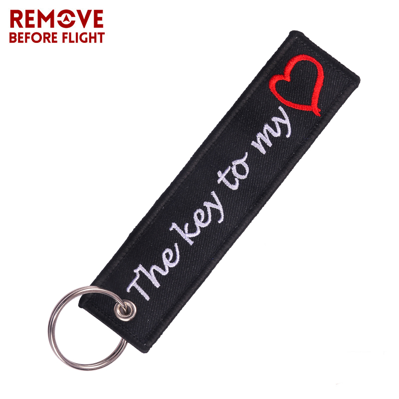 The Key To My Heart Key Chain Bijoux Keychain For Cars Gifts Key Tag Embroidery Motorcycles Key Ring Fashion Bijoux Keychains