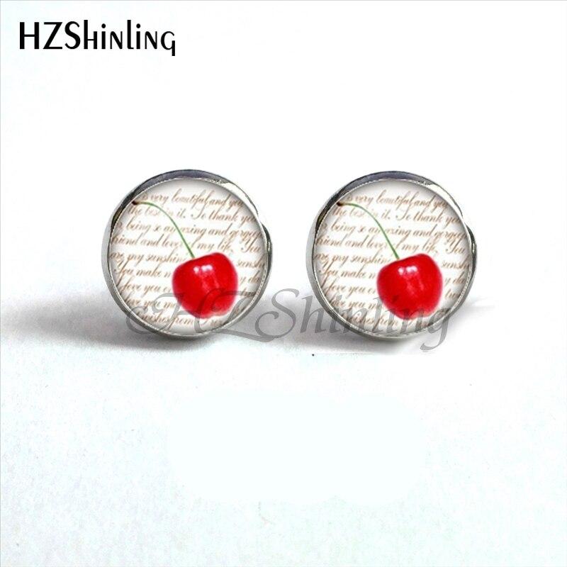 NES-0099 Lemon Slice Earrings Cherry Ear Studs Red  Stud Earring Fruits Jewelry Glass Cabochon Earrings Handmade HZ4