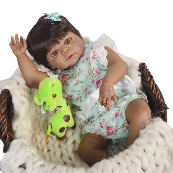 Real 57CM Full Body silicone Girl Reborn Babies Doll Bath Toy black skin lol dolls Princess Baby Bonecas Bebes Reborn toddler