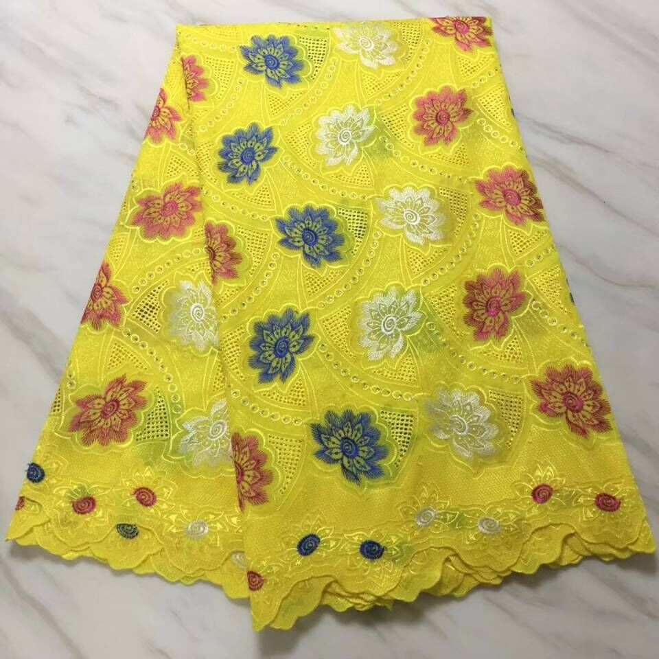 5Yards Beautiful yellow african cotton fabric and nice embroidery swiss voile lace fabric for dress BC34-85Yards Beautiful yellow african cotton fabric and nice embroidery swiss voile lace fabric for dress BC34-8