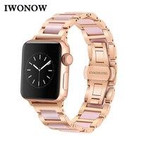 Stainless Steel & Ceramic Watchband for iWatch Apple Watch Series 4 3 2 1 38mm 40mm 42mm 44mm Women Band Female Wrist Belt Strap