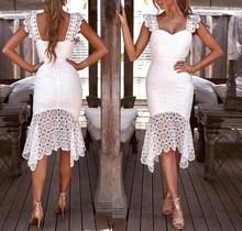 купить 2019 Women Hollow Out Bodycon Lace Dress Solid Sleeveless Knee-Length Dress Sexy  Club V-Neck Elegant Summer Party Dress дешево