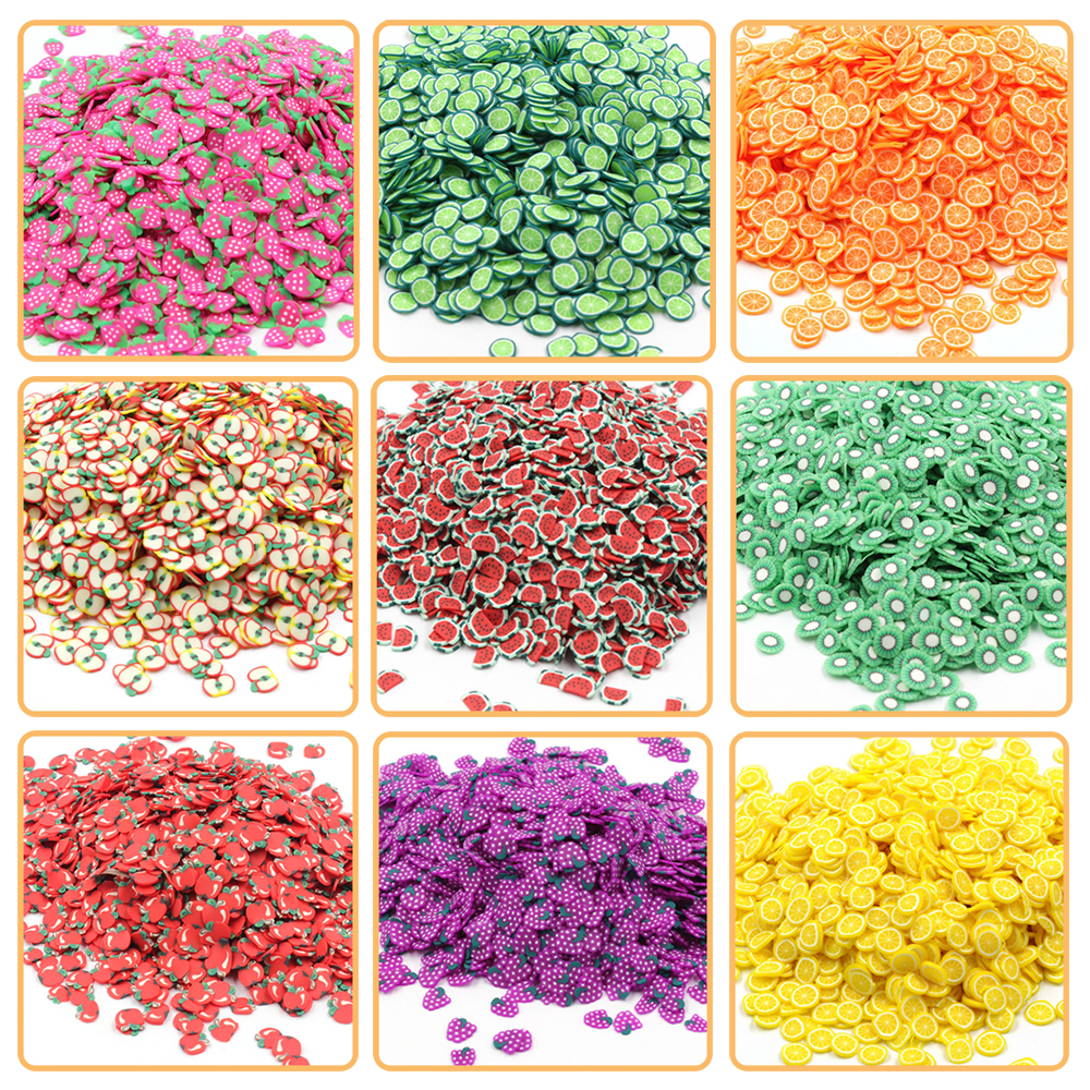 200Pcs Slime Addition Soft Fimos Fruit Slices For Charms Beads DIY Nail Mobile Beauty Powder In Slime Supplies Sprinkles