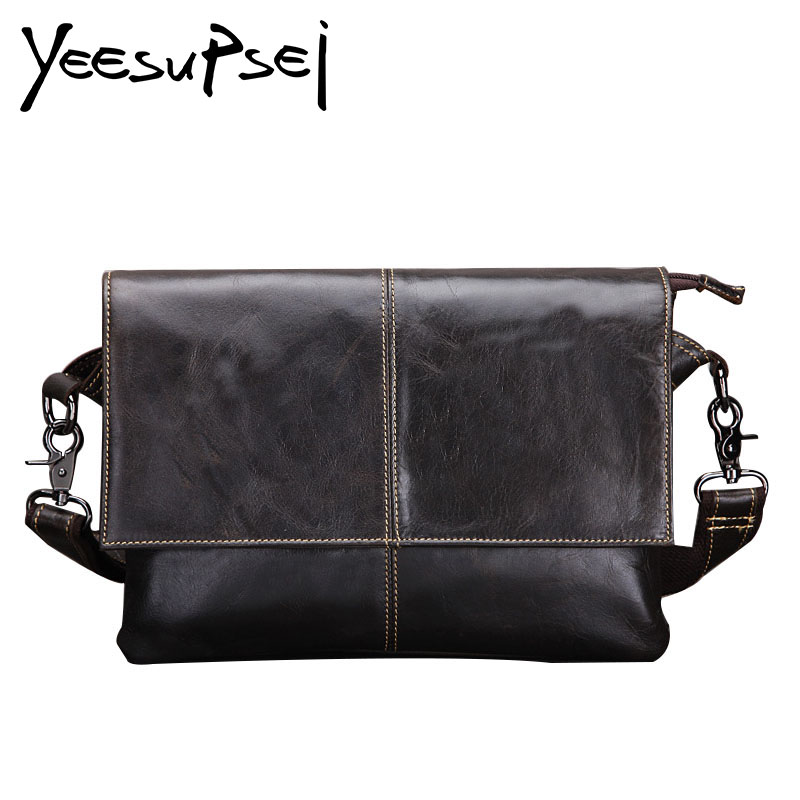 YeeSupSei Designer Men 14 inch Laptop Handbag Genuine Leather Messenger Bag Solid Black Travel School Bag Leisure Shoulder BagYeeSupSei Designer Men 14 inch Laptop Handbag Genuine Leather Messenger Bag Solid Black Travel School Bag Leisure Shoulder Bag