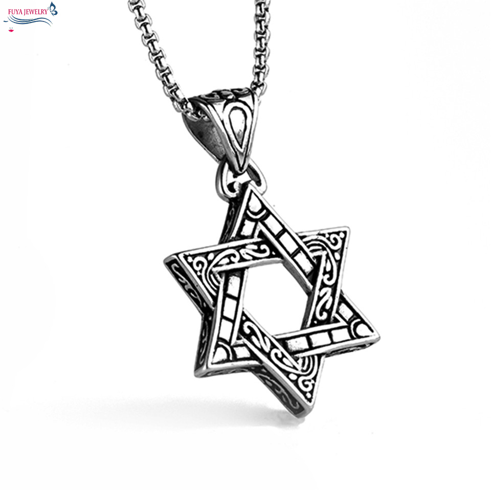 Men star of david indians totem necklace Fashion israel jewish hexagram  stainless steel chain necklaces pendants jewelry colar c0346404bd2c