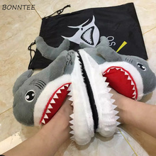 Winter Slippers Women Trendy Funny Shark Slipper Chic Cartoon Lovely Womens Bedroom Cotton Shoes Soft Bottom Leisure Non-slip