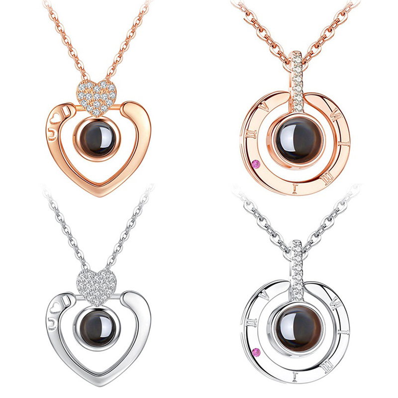 Neue Rose Gold Silber ICH liebe sie 100 Lanugage Halskette Liebe Speicher Projektion Herz Halskette Geburtstag Geschenk Tropfen Verschiffen