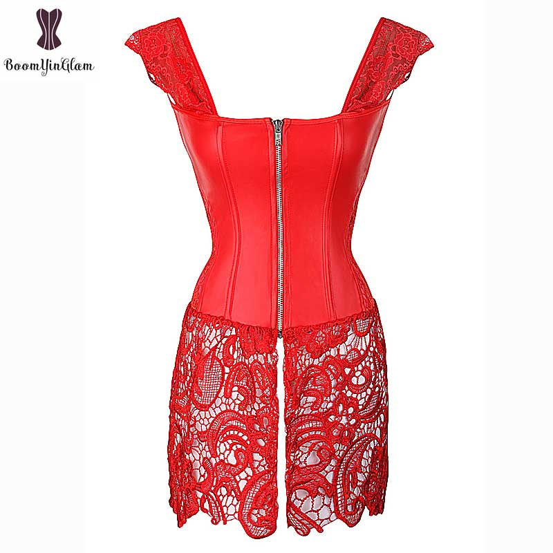 Corset Dress With Laciness Skirt Plus Size 6XL Steampunk Bustier Black Red Brown Corselet Faux Leather Outwear Dress Bone Korset 2