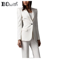High Quality White Women Pantsuits Work Pant Suits OL 2 Piece Sets Women Blazer Jacket & Pencil Pant Suit For Women Set