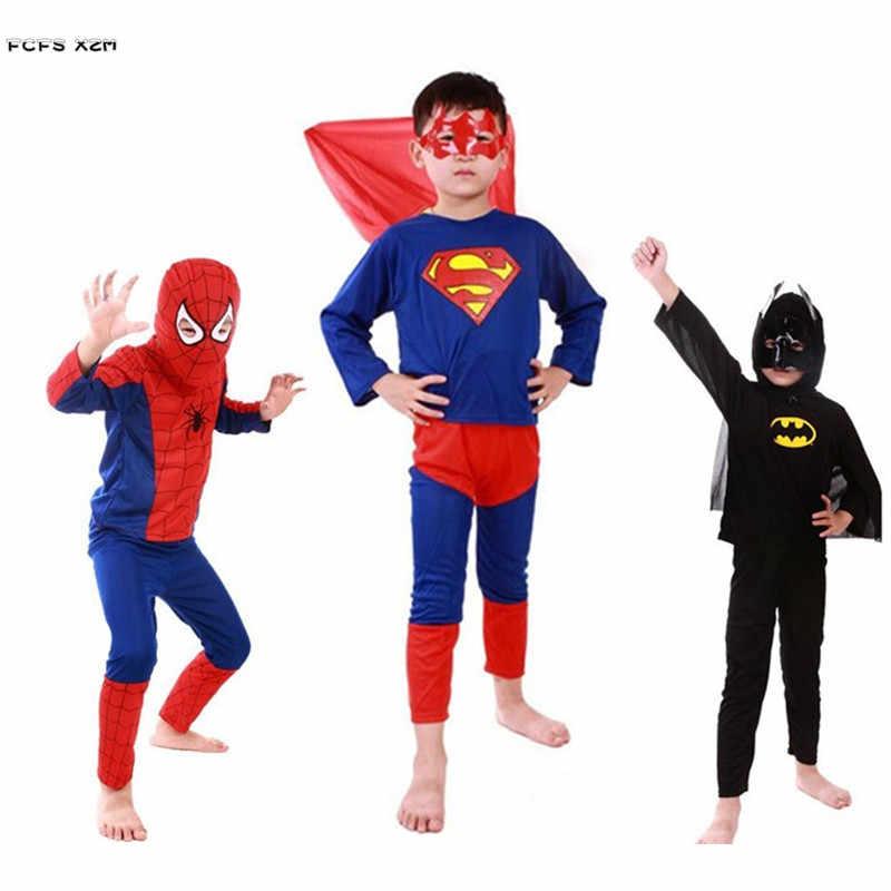 98e5b10ba7e82 3 sets/lot Kids Boys Spiderman Superman Batman Cosplays Movie The Avengers  Children Halloween Anime Costumes Purim party dress