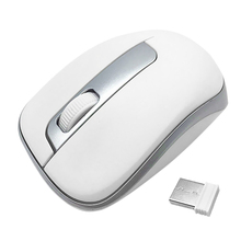 2.4G Wireless Portable Optical Mouse Silent Click Gaming Mouse with USB Receiver Silver And White Game Mouse Silent Mause For PC car style 2 4ghz wireless 1200dpi optical mouse w receiver silver black 2 x aaa