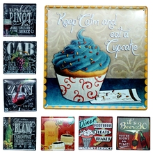 Keep Calm Eat Cupcake Wine Tin Signs Metal Painting Wall Bar Cofe Home Art Decor Living Room Cuadros  sticker 30X30CM DK-7