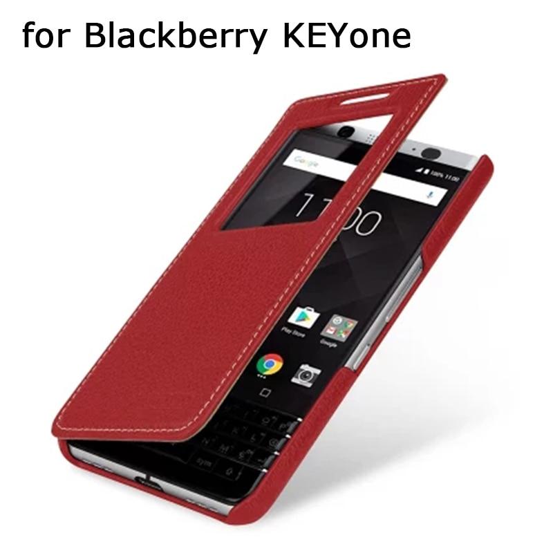 Étui en cuir véritable pour Blackberry KEYone fenêtre vue Flip couverture de téléphone peau de coque pour Blackberry KEY one PRESS Cover Bag