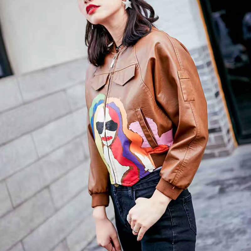 Printed Portrait Bomber Leather Jacket Women Brown Jacket Moto Coat jaquetas couro Casaco chaquetas Jacket Chain Punk