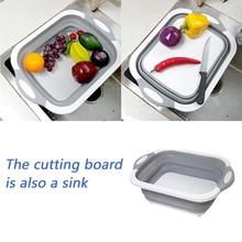 Kitchen Multifunctional Cutting Boards Foldable BoardSilicone Board Washable Vegetable Fruit Washing Basket
