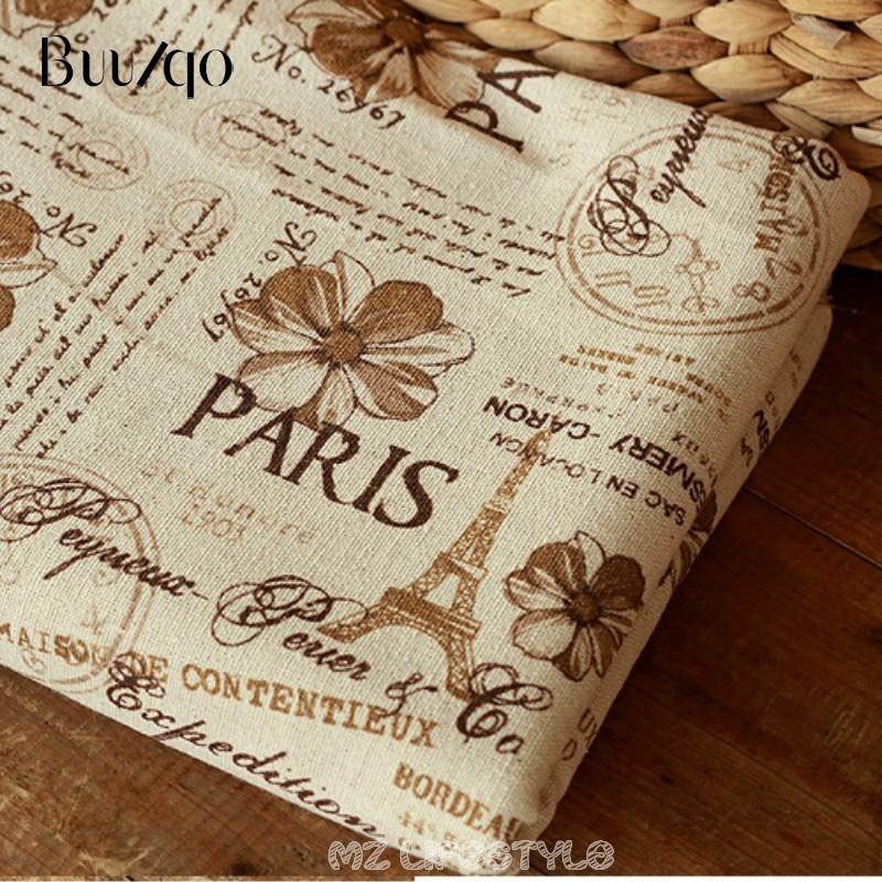 Neue ankunft 100*150 cm breite gedruckt Paris turm baumwolle und leinen mischung stoff durch meter DIY Zakka stil kissen tischdecke tissue
