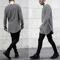 Extend Hip Hop T Shirt High Low Side Thumb Hole Split Shirt Long Sleeve Tyga Swag T-Shirt Black Striped Clothes