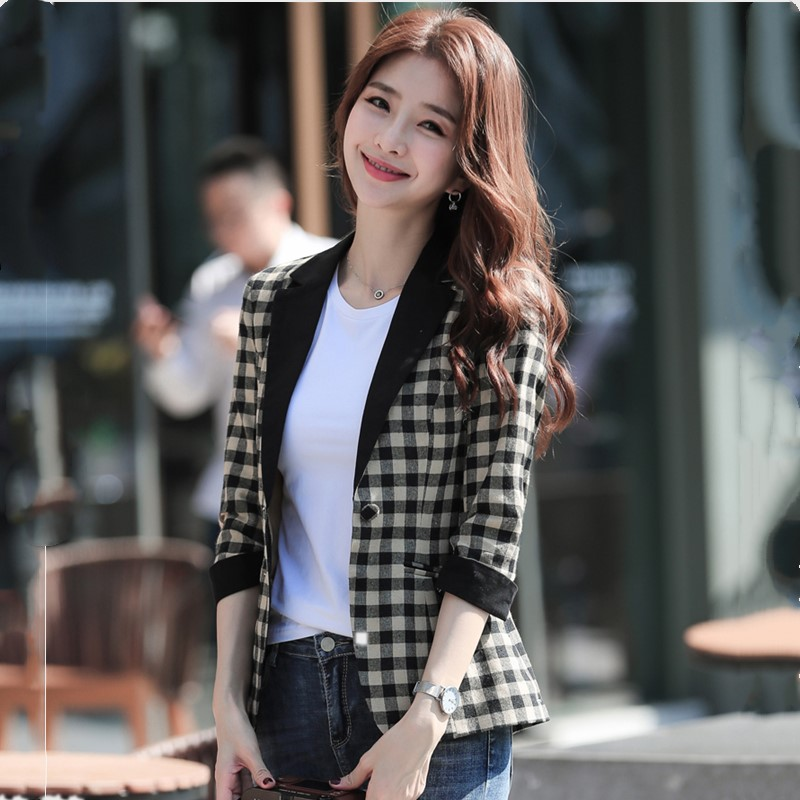 High Quality Cotton And Linen Plaid Small Suit Short Coat 2019 Seven-point Sleeve Fashion Retro Temperament Slim Women's Jacket