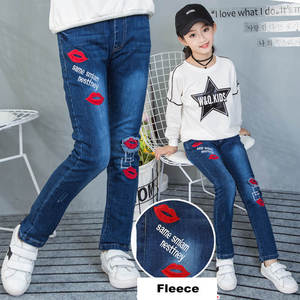 Image 2 - Winter 2018 Fleece Jeans for Children Girls Casual Teenage Thicken Warm Embroidered Trousers 3 12 Years Washing Blue Baby Jeans