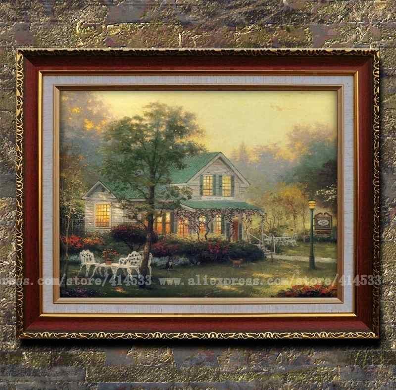 Thomas kinkade prints of oil painting Village inn country menories ...