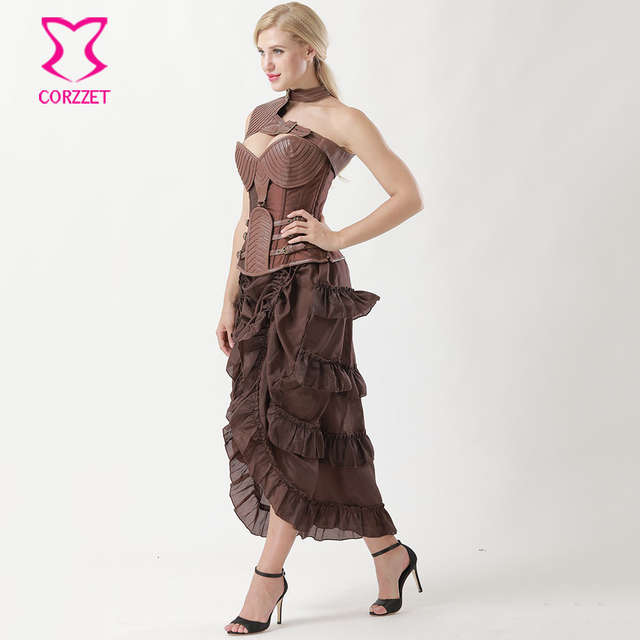 9702c23eeb placeholder Brown Leather Armor Corpetes E Espartilhos Plus Size Gothic  Clothing Vintage Corset Dresses Corsets And Bustiers