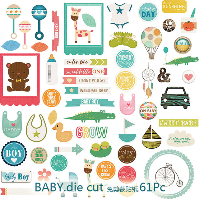 61pcs pack baby series decorative pre die cut stickers for diy scrapbooking planner