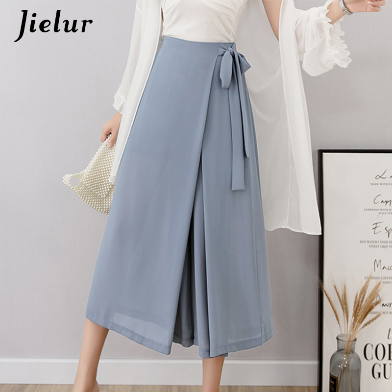 Jielur Summer High Waist   Wide     Leg     Pants   Women High Street Chiffon OL Pantalon Femme Simple Blue Black Trousers Female Side Split