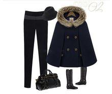 2017 Hot Womens Girl Faux Fur Shawl Wool Hooded Poncho Batwing Cape Coat Winter Jacket Cloak Poncho(China)