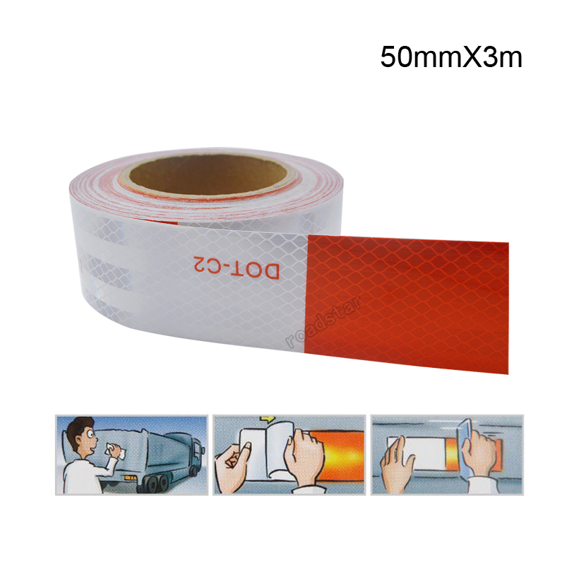 50mm X 3m DOT Reflective Car Truck Motorcycle Sticker Safety Warning Signs Conspicuity Tape Roll50mm X 3m DOT Reflective Car Truck Motorcycle Sticker Safety Warning Signs Conspicuity Tape Roll