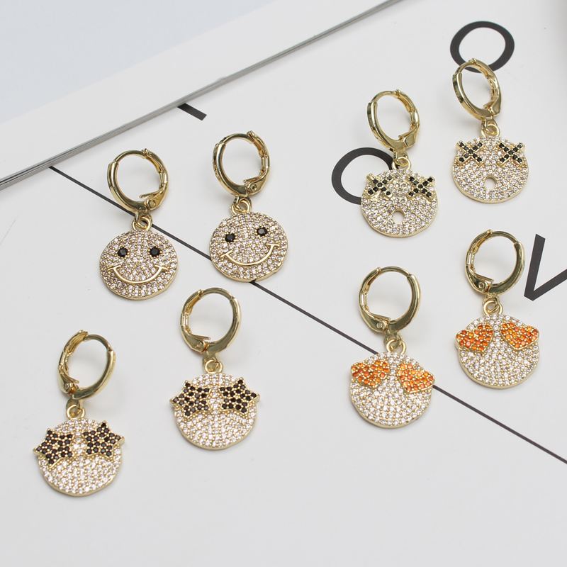 2020 New Gold Color Personality Expression Dangle Earrings For Women Fashion CZ Zircon Smile Face Kids Earrings Jewelry Gifts