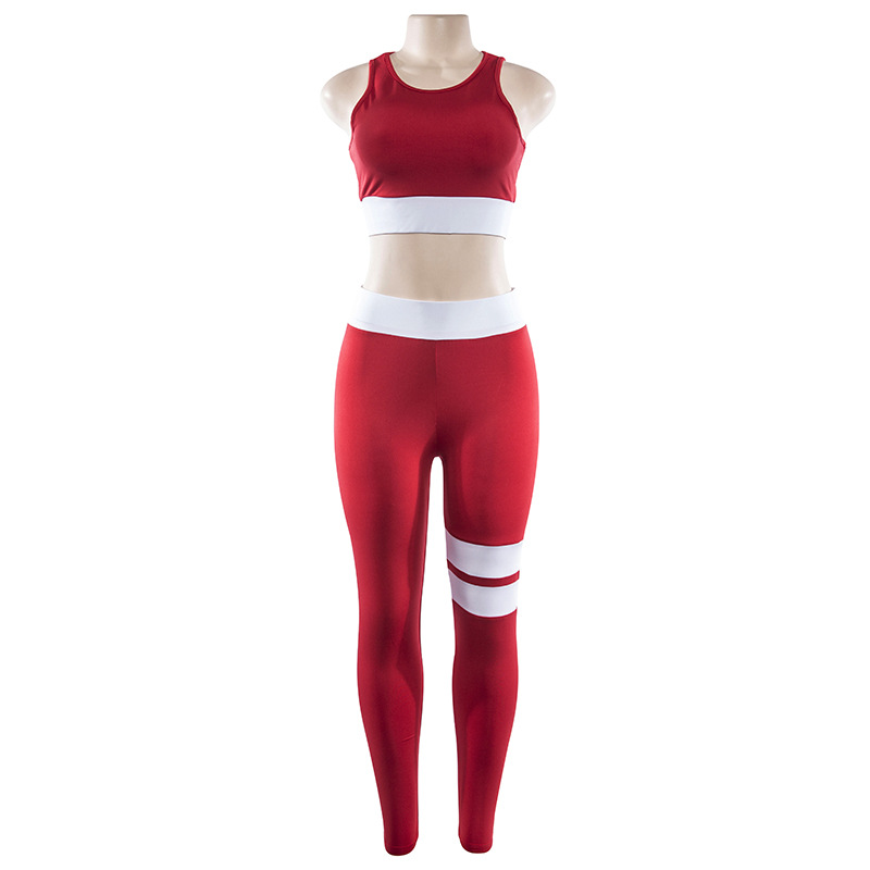 Women Tracksuit Solid Yoga Set Patchwork Running Fitness Jogging T-shirt Leggings Sports Suit Gym Sportswear Workout Clothes S-L 13