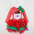 New 2014 spring and Autumn baby clothing set kids sets girls  Lace layered skirt bow Polka Dots Christmas  suits long-sleeve