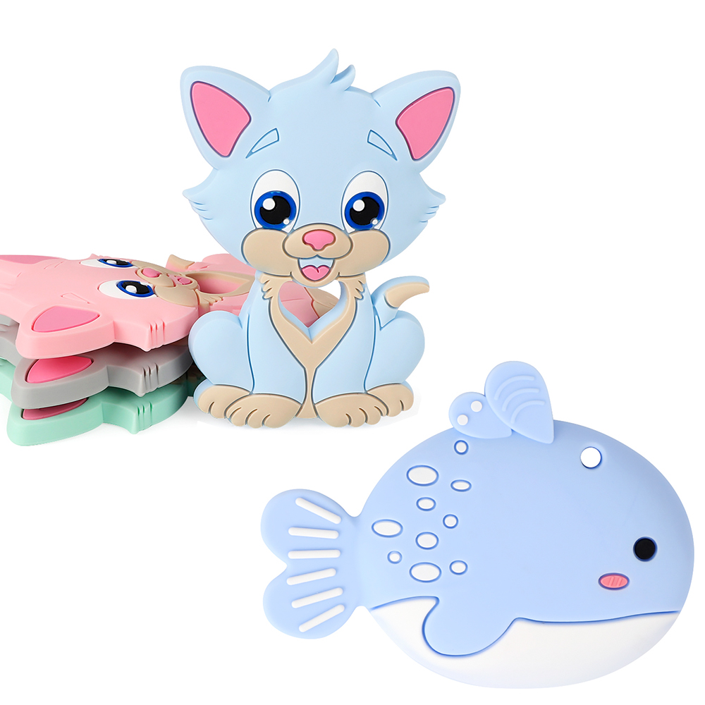 TYRY.HU Teething Animal Rodent Silicone Baby Teethers Soft Texture Teething Toys Baby Teething Pendant Carton Teether