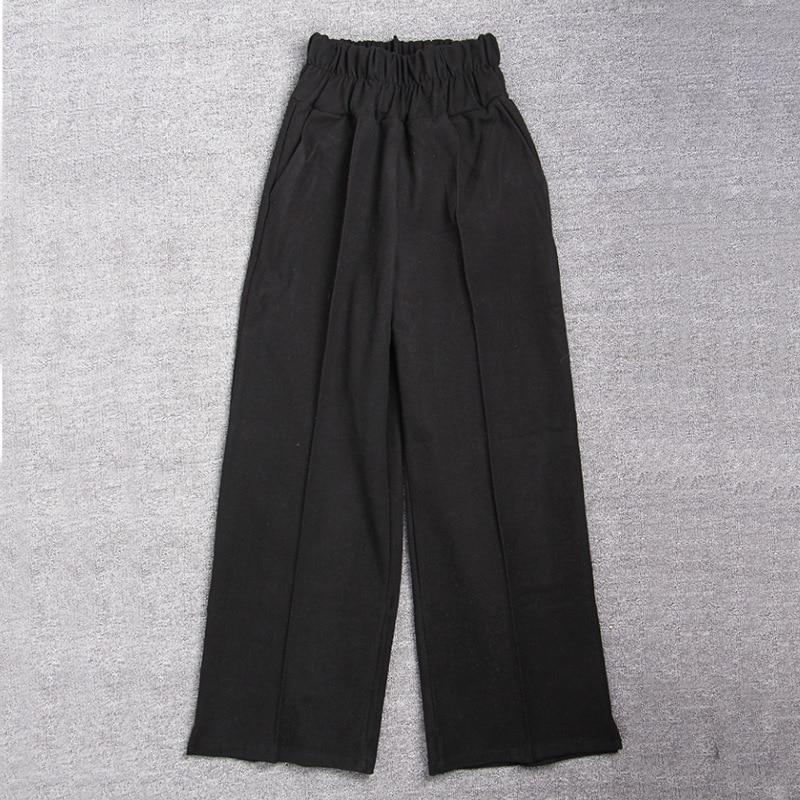 FATIKA Autumn Winter Women Loose Casual Long Pants New 19 Elastic Waist Fashion Thick Wide Leg Pants Stylish Trousers 7