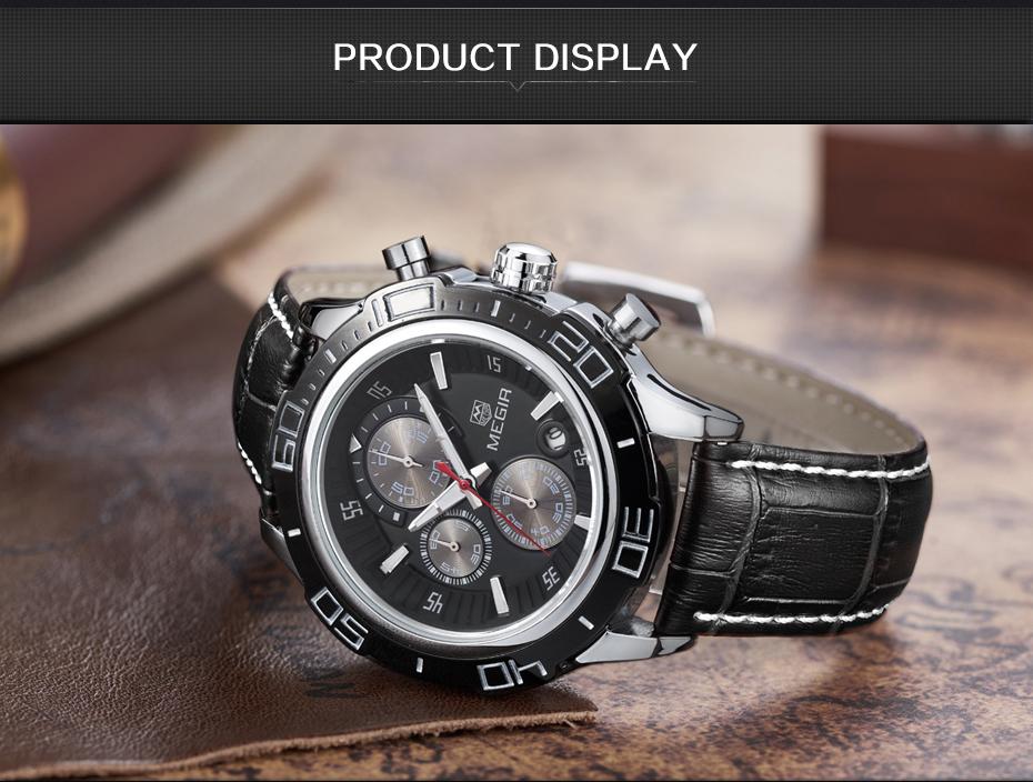 Topdudes.com - MEGIR Original Stainless Steel Multifunctional Business Quartz Watch with Chronograph & Calendar