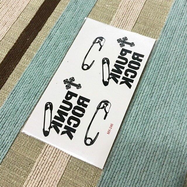 Arrive Waterproof Temporary Tattoo Sticker Pin Rock Punk Water Transfer Fake Tattoo Flash Tattoo For Girl Boys