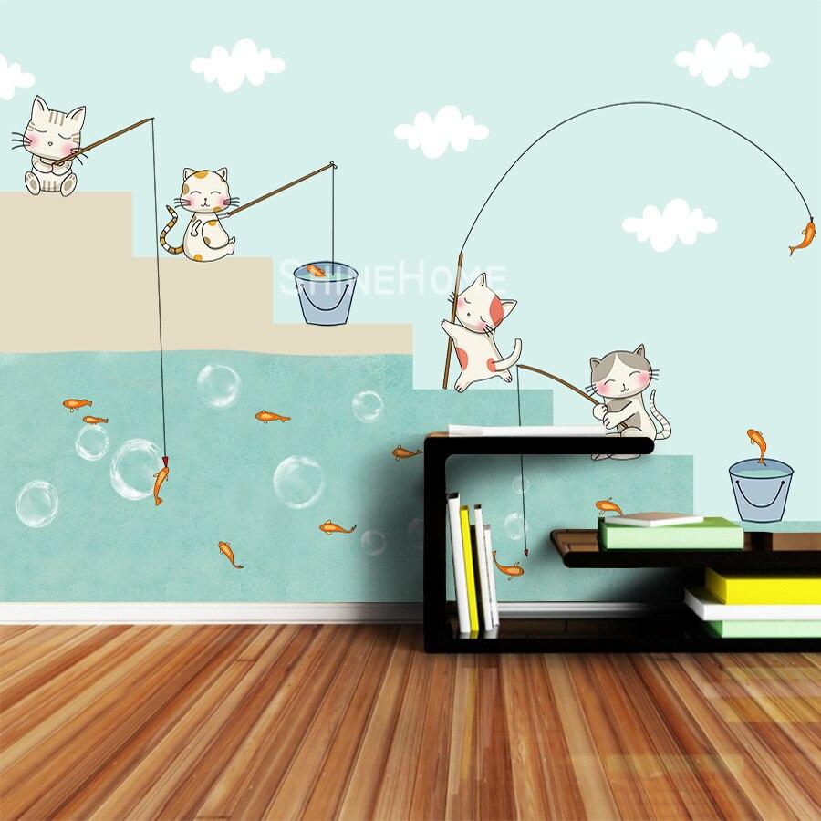 Cartoon Cats Wallpapers 3 D Murals Wallpaper For Walls Paper In Rolls 3d On Wall Papers Home Decor Living Room Kids Boy Bedroom